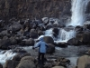 Mom exploring a waterfall at the National Park