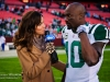 Dec 4, 2011; Landover,MD, USA; SNY reporter Jeane Coakley interviews New York Jet's wide receiver Santonio Holmes (10) after the game against the Washington Redskins at Fedex Field. The Jets defeated the Redskins 34-19. Photo by Manish Gosalia