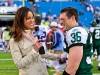 Nov 6, 2011; Orchard Park, NY, USA; SNY reporter Jeane Coakley (left) interviews New York Jet's safety JIm Leonhard (36) after the game against the Buffalo Bills at Ralph Wilson Stadium. The Jets defeated the Bills 27-11. Photo by Manish Gosalia/JetsInsider.com