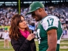Nov 28, 2011; East Rutherford, NJ, USA; SNY reporter Jeane Coakley (left) interviews New York Jet's wide receiver Plaxico Burress (17) after the game against the Buffalo Bills at Metlife Stadium. The Jets defeated the Bills 28-24. Photo by Manish Gosalia/JetsInsider.com